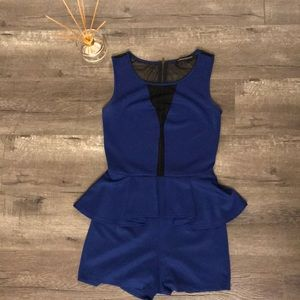 Peplum Romper with Mesh panel